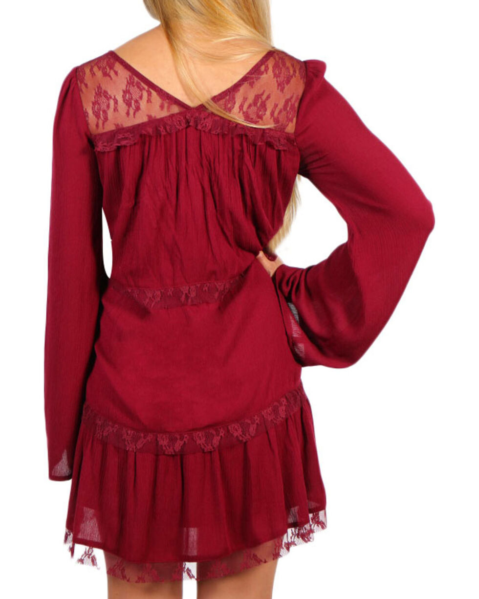 Shyanne Women's Burgundy Lace Tier Bell Sleeve Dress, , hi-res