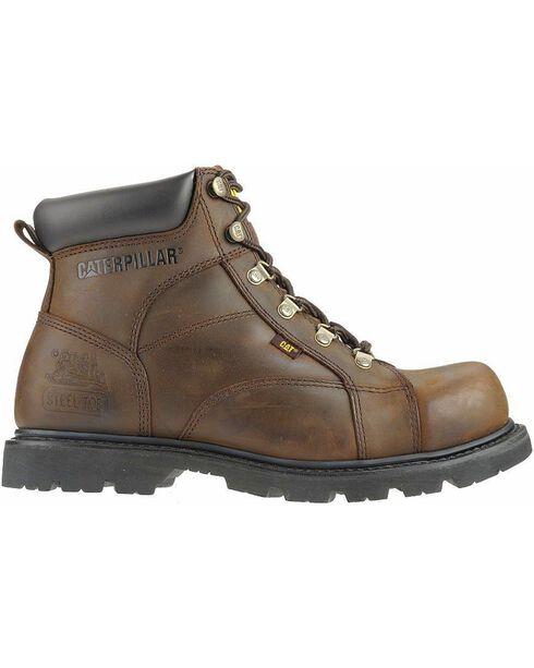 CAT Men's Mortar Work Boots, Dark Brown, hi-res