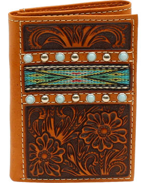 Ariat Men's Tri-Fold Ribbon Strip Turquoise Stone Wallet, Tan, hi-res