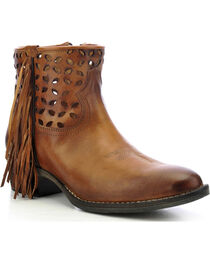 Circle G Women's Fringe Cut-Out Western Booties, , hi-res