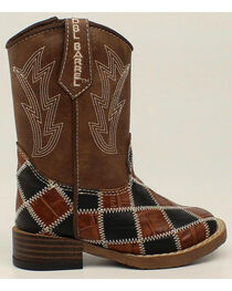 Double Barrel Boys' Andy Zip Patchwork Boots - Square Toe, , hi-res
