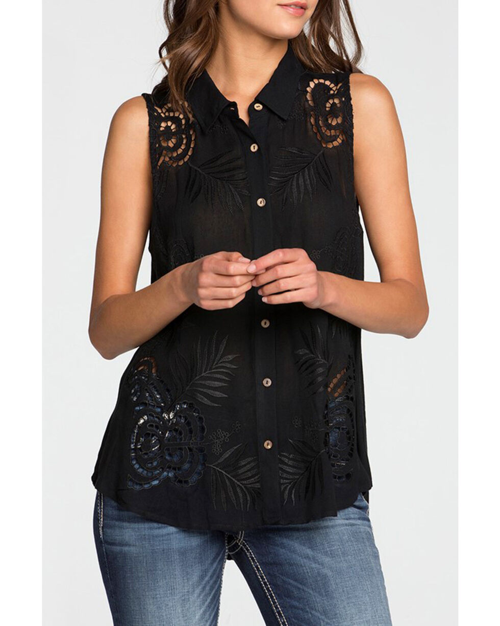 Miss Me Women's Black Cut Out Floral Embroidery Top, Black, hi-res