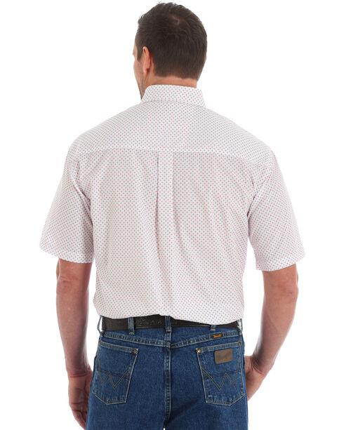Wrangler George Strait Men's Print Short Sleeve Button Down Shirt, White, hi-res