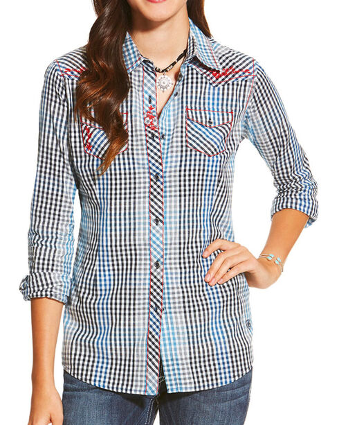 Ariat Women's Plaid Western Long Sleeve Shirt, Multi, hi-res
