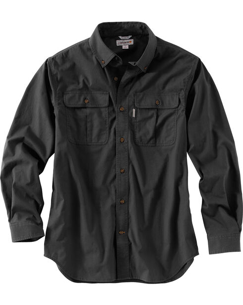 Carhartt Men's Foreman Long Sleeve Work Shirt, Black, hi-res