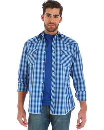 Wrangler Men's Blue Fashion Long Sleeve Plaid Shirt - Big and Tall , , hi-res