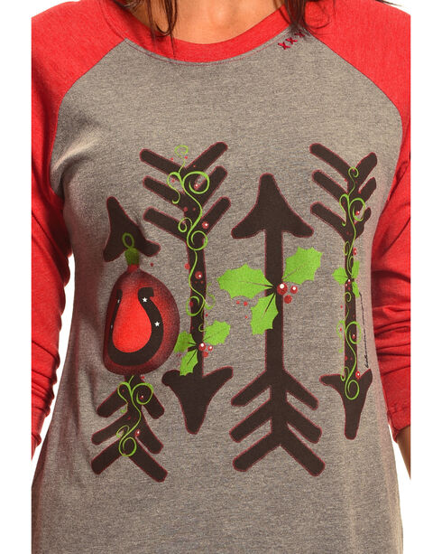 Bohemian Cowgirl Women's Holiday Arrows Long Sleeve Tee, Red, hi-res
