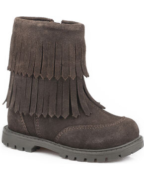 Roper Girls' Brown Fashion Fringe Moccasin Boots - Round Toe, Brown, hi-res