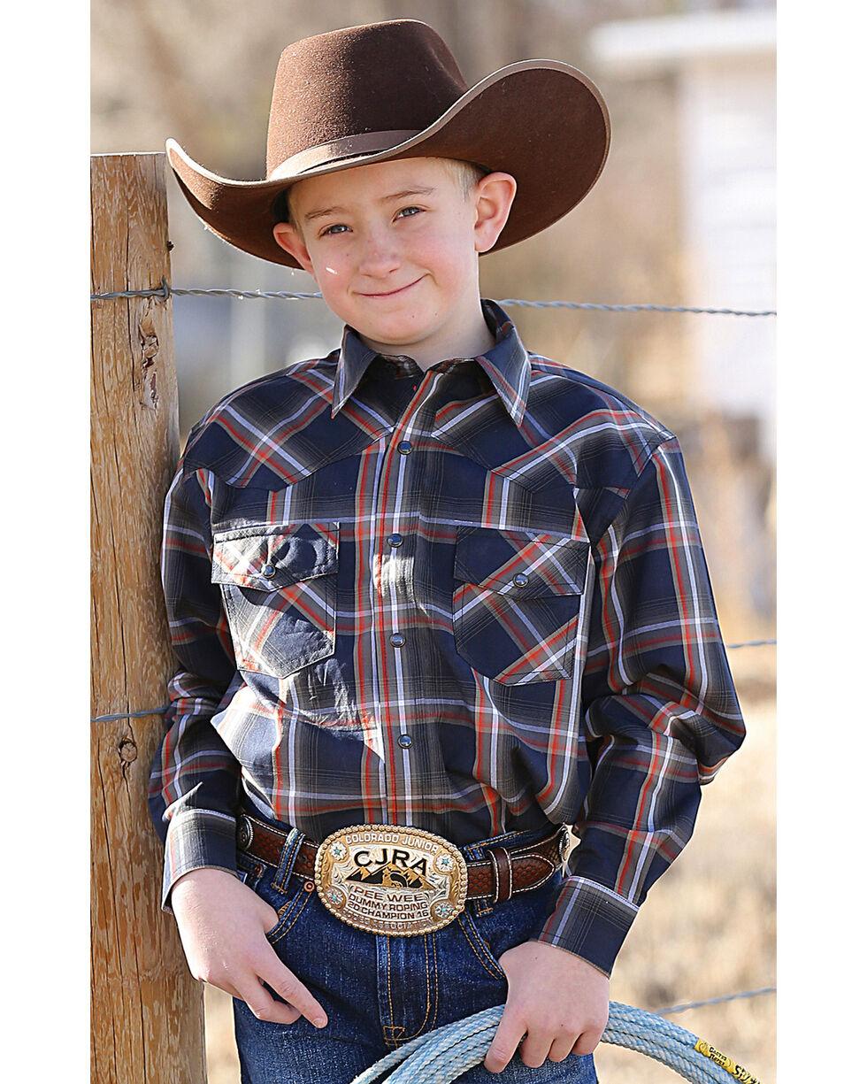 Cinch Boys' Plaid Plain Weave Long Sleeve Western Snap Shirt, Navy, hi-res