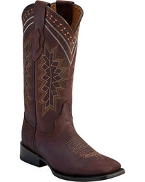 Ferrini Women's Chocolate Navajo Western Boots - Square Toe , , hi-res