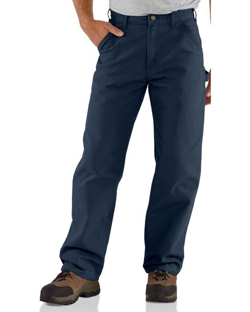 Carhartt Men's Washed Dungaree Work Pants, Dark Blue, hi-res