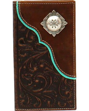 Nocona Men's Corner Overlay Concho Rodeo Wallet , Brown, hi-res
