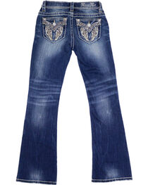 Miss Me Girl's Angel Wing Embroidered Boot Cut Jeans, , hi-res