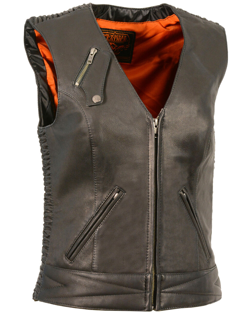 Milwaukee Leather Women's Lightweight Crinkle Snap Front Vest, Black, hi-res