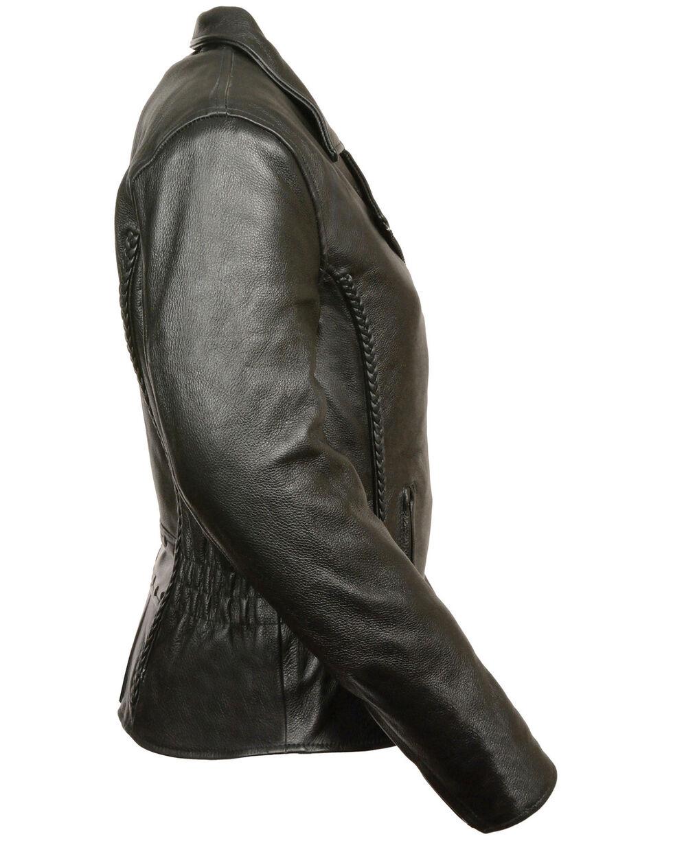 Milwaukee Leather Women's Braid & Stud Leather Jacket, Black, hi-res