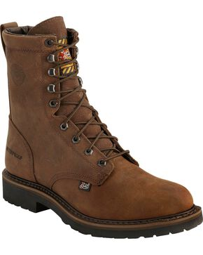 "Justin Men's Wyoming Waterproof 8"" Lace-Up Work Boots, Brown, hi-res"