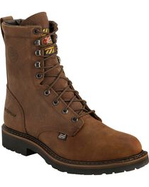 "Justin Men's Wyoming 8"" Waterproof Steel Toe Lace-Up Work Boots, , hi-res"