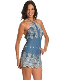 J JUVA Women's Halter Neck Embroidered Romper, , hi-res