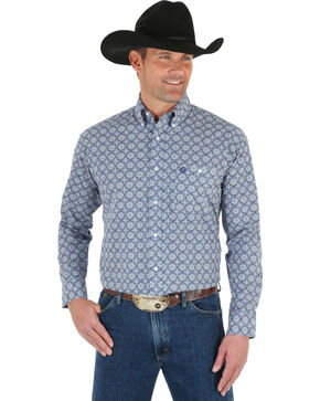 Wrangler George Strait Men's Medallion Printed Long Sleeve Shirt, Blue, hi-res