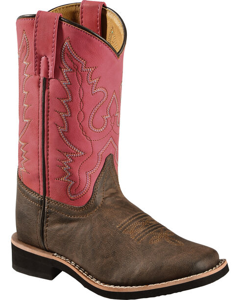 Swift Creek Youth Girls' Raspberry Cowgirl Boots - Square Toe, Chocolate, hi-res