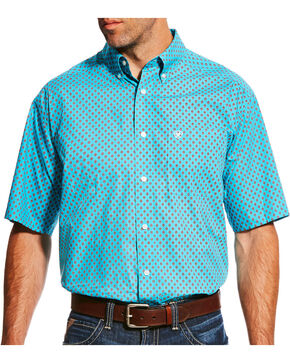 Ariat Men's Blue Nico Print Short Sleeve Shirt , Blue, hi-res