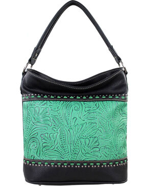 Montana West Trinity Ranch Concealed Handgun Collection Tooled Handbag, Black, hi-res