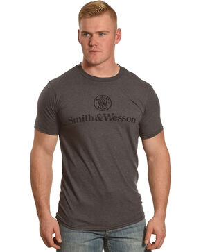Smith & Wesson Men's Distressed Logo Premium Tee, Charcoal, hi-res
