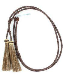 Braided Leather Brown Horsehair Tassels Stampede String, , hi-res