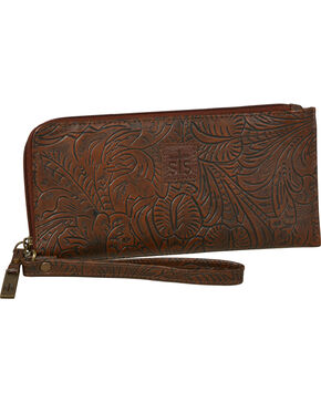 STS Ranchwear Chocolate Floral Clutch Wallet, Chocolate, hi-res