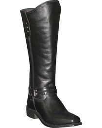 Abilene Women's Black Equestrian Wellington Boots - Square Toe  , , hi-res