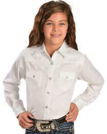 Wrangler Kid's Embroidered Long Sleeve Western Shirt, , hi-res