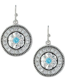 Montana Silversmiths Women's Brilliant Posy Medallion Earrings , , hi-res