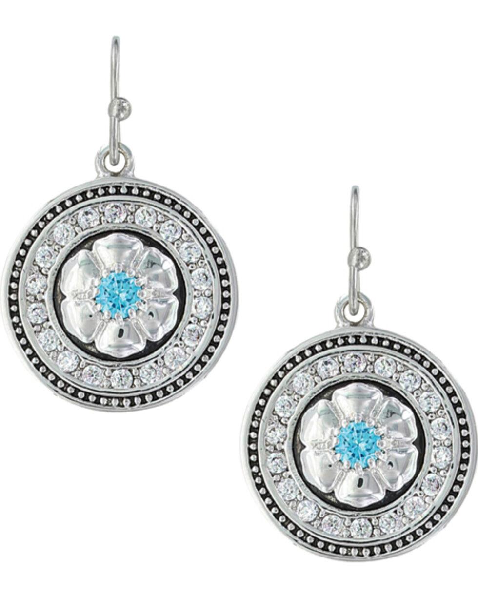 Montana Silversmiths Women's Brilliant Posy Medallion Earrings , Silver, hi-res