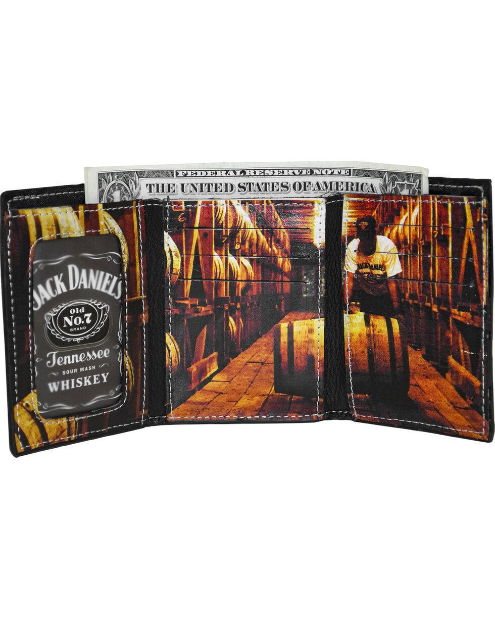 Jack Daniel's Men's Black Trifold Leather Wallet , Black, hi-res
