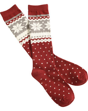 Shyanne® Women's Pattern Knee-High Socks, Burgundy, hi-res