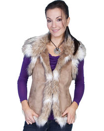 Scully Women's Suede Faux Fur Vest, , hi-res
