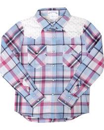 Shyanne® Girls' Plaid Crochet Long Sleeve Shirt, Multi, hi-res