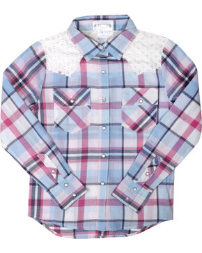Shyanne® Girls' Plaid Crochet Long Sleeve Shirt, Multi, hi-res