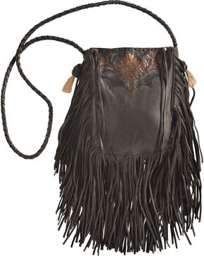 Kobler Leather Black Hand-Tooled Pouch Bag , Black, hi-res