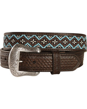 Nocona Beaded Leather Belt, Brown, hi-res