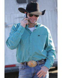 Cinch Men's Classic Fit Teal Printed Plain Weave Long Sleeve Button Down Shirt, , hi-res