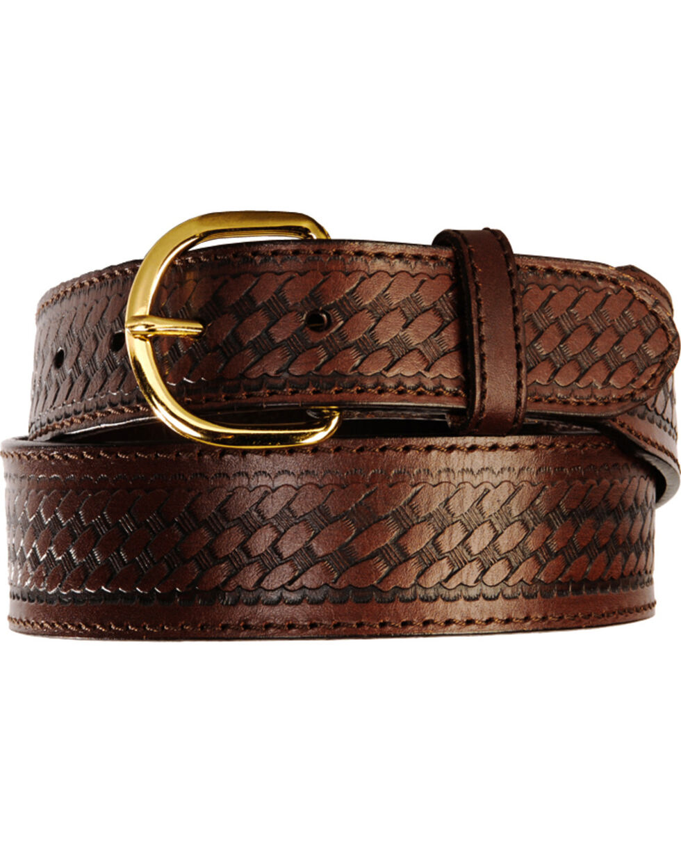 Men's Basketweave Belt - Reg & Big, Brown, hi-res