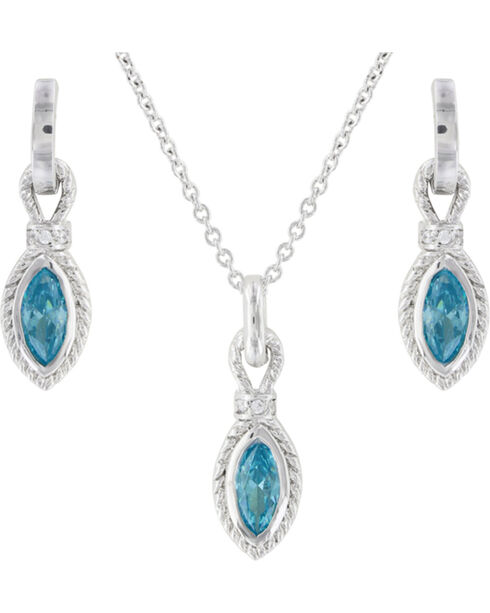 Montana Silversmiths Women's Roped Aqua Jewelry Set, Silver, hi-res