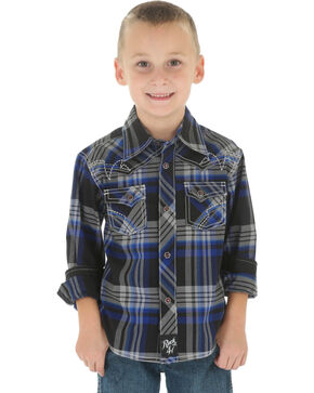 Wrangler Rock 47 Boys' Black Plaid Snap Shirt, Blue, hi-res