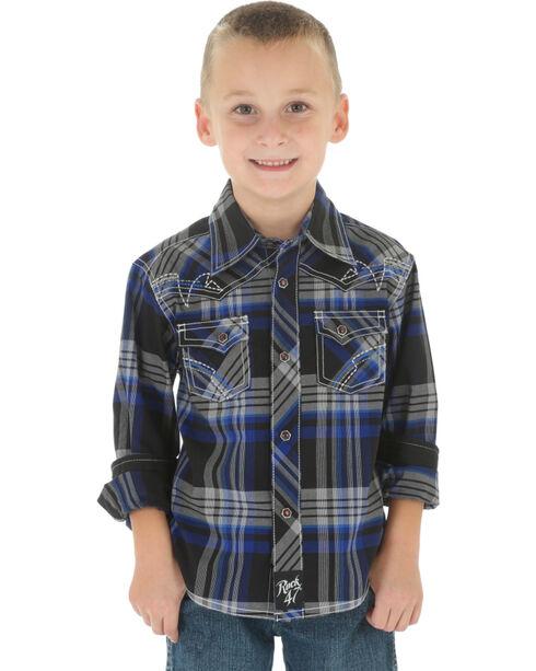 Wrangler Rock 47 Boys' Black Plaid Snap Shirt, Blue, hi-res