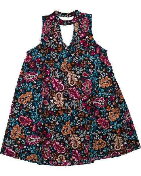 Eyeshadow Women's Plus Paisley Keyhole Dress , Black, hi-res