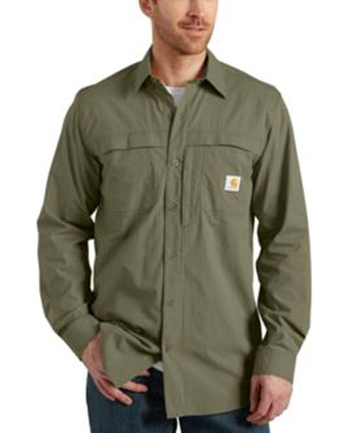 Carhartt Force Mandan Solid Long Sleeve Shirt, Moss, hi-res