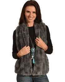 Jack Women's Cheerio Swirly Textured Soft Faux Fur Vest, , hi-res