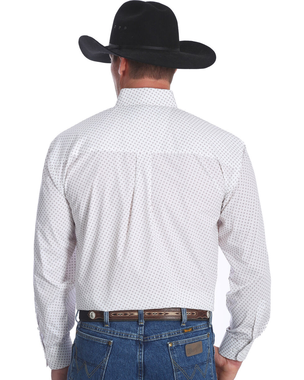 Wrangler Men's White George Strait Button Down Print Shirt - Big & Tall , White, hi-res