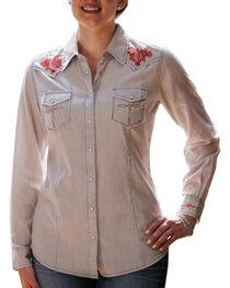 Ryan Michael Women's Railroad Stripe Western Shirt, , hi-res